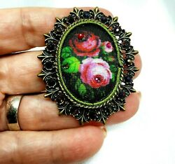 Michal Negrin Romantic Golden Brooch fabric colorful flowers Swarovsky Crystals.