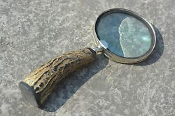 Bone Handle Magnifier Brass Horn Magnifying Glass For Reading, Handcrafted