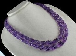 Certified Natural Amethyst Carved Beads 2 L 797 Cts Gemstone Important Necklace