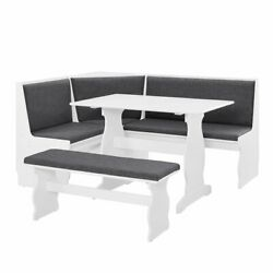 3 Pc Gray White Top Breakfast Nook Dining Set Corner Booth Bench Kitchen Table