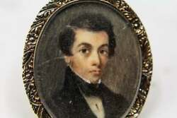 Antique Georgian Portrait Painting Hand Painted, Brooch In 16k Gold