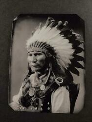 Sixth-plate Native American Sitting Bull Son Indian Tintype C2437rp