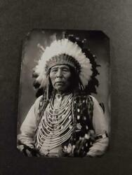 Sixth-plate Native American Wild Horse Cousin Of Crazy Horse Tintype C2445rp