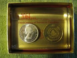 1964 Canada Trust Huron And Erie Silver Dollar And Token Desk Top Paper Weight