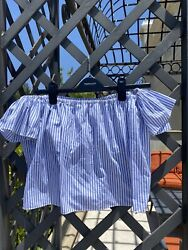 Zara Striped Off The Shoulder Women's Top Size Small Blue And White Blouse $10.00