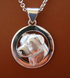Sterling Silver Pit Bull Terrier AM Staff Head Study On A Wide Circle Frame Pend