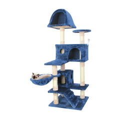 51#x27;#x27; New Blue Cat Tree Pet Furniture Scratch Post Tower Condo Play House Toy