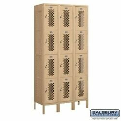 12 Wide Four Tier Vented Metal Locker - 3 Wide - 6 Feet High - 15 Inches Deep