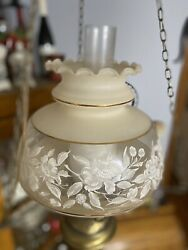 Vintage Gwtw Hanging Hurricane Lamp And Glass Lamp Globes