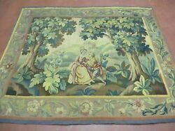 5' X 6' Antique Tapestry French Hand Made Aubusson Weave Nature One Of A Kind