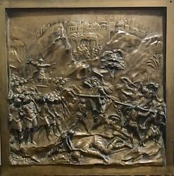 """Bronze Panel""""david An Goliath""""from The Gates Of Paradise After Lorenzo Ghiberti"""
