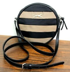 BIMBA & LOLA BLACK BEIGE NYLON LEATHER ROUND ZIP X-BODY SHOULDER BAG MESSENGER $49.99