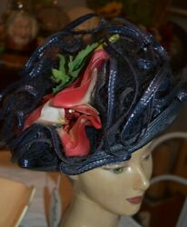 Vintage Jack Mcconnell Boutique Straw Red Flower Hat Nwt