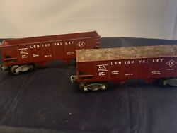 Pair Of Lionel Hopper Cars 6456 Lehigh Valley 1 With Coal 1 Without