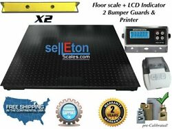 Floor Scale 60 X 60 5and039 X 5and039 Pallet Size With 2 Bumper Guards 5000 Lbs X 1 Lb