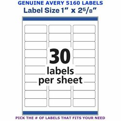 Avery Easy Peel Laser Address Labels 1 X 2 5/8 5160 Pick Your Own Of Label