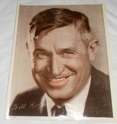 Will Rogers 8x10 Signed Colored Black White Photographic Reproduction Photo