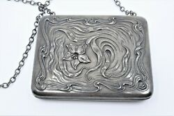 Antique 1905 Fine Sterling Silver Coin Card Purse Evening Bag Floral