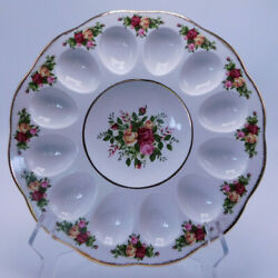 Royal Albert Old Country Roses - Deviled Egg Plate - 11 1/8 Wide With Sticker