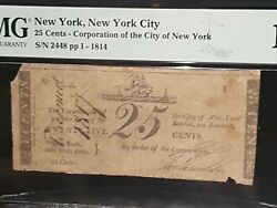 ➡➡unconfirmed Note War Of 1812 -1814 New York City 25andcent Scrip. Pmg F12 S/n 2448
