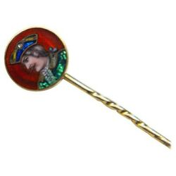 Antique Stick Pin In 18k Gold With Portrait Miniature And Guilloche Enamel