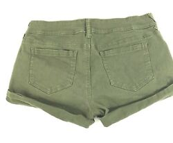 Boom Boom Jeans Khaki Green Booty Shorts Button Fly Size 9 Distressed