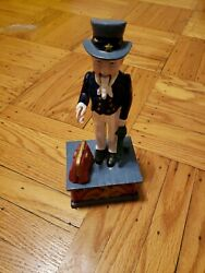 Vintage Cast Iron Mechanical Uncle Sam Coin Bank In Working Condition