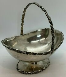 Signed Mexico 925 Antique Sterling Oval Footed Handled Bowl Basket Leaves Swirl