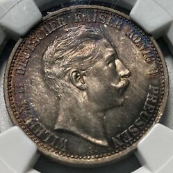1907a Prussia 2 Mark Ngc Ms65 Rainbow Toned