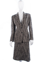 Max Mara Jacket And Skirt Suit Wool And Mohair Black And Cream Woven Uk14