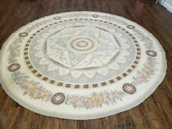 8' X 8' One Of A Kind Hand Made French Aubusson Weave Savonnerie Wool Rug Round