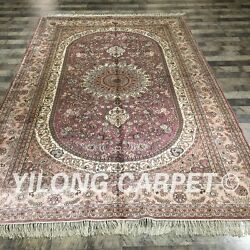 Yilong 6and039x9and039 Handknotted Silk Vintage Carpet Medallion Durable Area Rug 038m