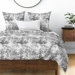 Abstract Modern Grunge Dorm Black And White Sateen Duvet Cover by Roostery