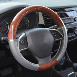 Universal Wood Grain Steering Wheel Cover For Car Auto Lux Grip Gray Syn Leather