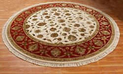Handmade Oriental Rug Ivory Red 'haruhasa' Hand Knotted Wool Silk Carpet 8x8 Ft