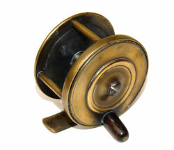 Unusual Vintage Brass Plate Wind Trout Fly Reel With Constant Check Clicker C...