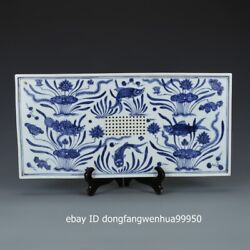 Blue And White Porcelain Tea Drinking Tool Lotus Flower Fish Tea Tray Plate