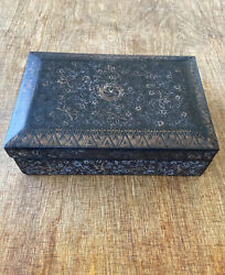 Japanese Black Lacquer Jewelry Box With Flowers  Used