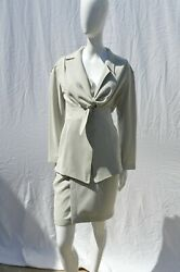 Vtg 90s Thierry Mugler Summer Suit Wrap Skirt Blazer Sexyy Tie Up Front Size 36