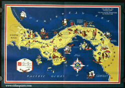 Panama Canal / Pictorial Map Of Historic Panama Map Title 1940