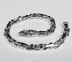 10k Solid White Gold Menand039s Anchor Mariner Link Chain Bracelet 7 Mm 36 Grms 9.75
