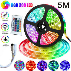 16ft Flexible Strip Light 3528 Rgb Led Smd Remote Fairy Lights Room Tv Party Bar