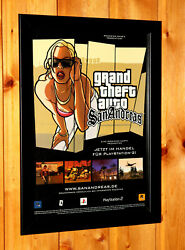 2004 Grand Theft Auto San Andreas Ps2 Xbox Ps3 Old Promo Poster Ad Art Framed