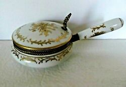 Isco Crumb Catcher Lidded Porcelain Silent Butler White And Gold Hollywood Regency