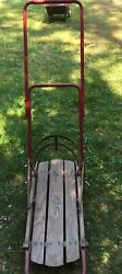 Antique Vintage Flexible Flyer Child Snow Sled With Retractable Wheels