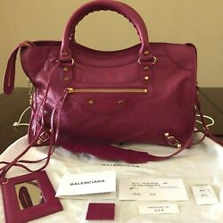 BRAND NEW $2350 Balenciaga ROSE Lambskin Leather Motorcycle Classic City Bag NWT $1,350.00