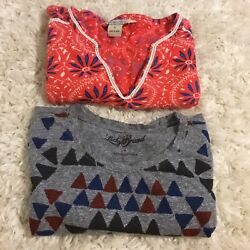 Lot of 2 Lucky Brand Women's Short Sleeve Tee T Shirts FloralGeometric~CUTE~S $12.00