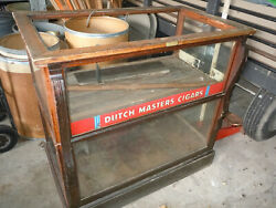 Vintage Cigar Store Wooden Display Case With Dutch Masters Cigars Advertising.
