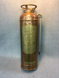 Vintage General Quick Aid Cooper And Brass Polished Fire Extinguisher Empty