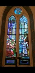 Rare Documented Signed Tiffany Studios Church Religious Stained Glass Window